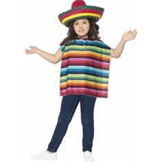 Mexicaans setje voor kinderen. Dit verkleed setje bevat een gekleurde poncho en rieten sombrero. De poncho en sombrero zijn in vrolijke kleurtjes. One size. Materiaal ponco: 100% polyester.