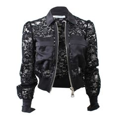 Givenchy Lace And Satin Jacket ($2,890) ❤ liked on Polyvore featuring outerwear, jackets, tops, coats, slim fit jacket, givenchy, givenchy jacket, cropped jacket and slim jacket