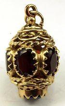 Vintage 9ct Gold & Garnet Lantern Fob Charm Pendant..