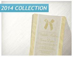 Gold Vintage Bow Linen Wedding Invitations