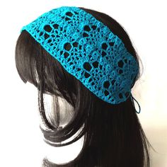 Delicate lace cotton headband crocheted with #10 mercerized cotton thread in a pineapple motif. This 4 inch wide headband measures about 17 inches in length with 10 inch straps for securing behind head. This headband fits all adult size heads.