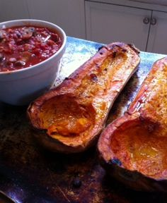 Roasted Butternut Squash with Meaty Marinara