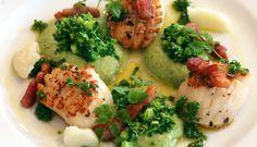 Kamskjell med brokkoli og hvitløk - Godfisk