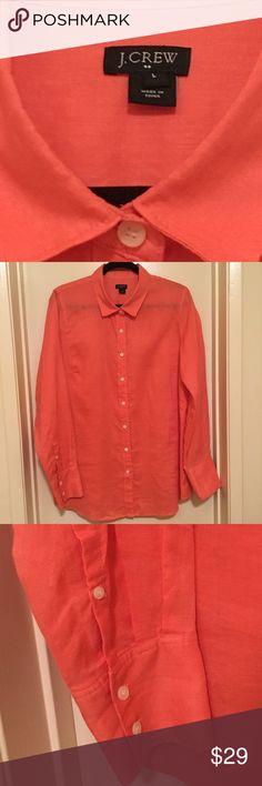 J Crew Garment -dyed Linen Shirt NWOT New, still on the website. This crisp Arid Pink Linen Shirt is stunning. Classic Got, Long Sleeves,Machine Wash. J. Crew Shirts Dress Shirts
