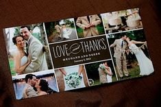Thank you cards- a postcard with a collage of photos.