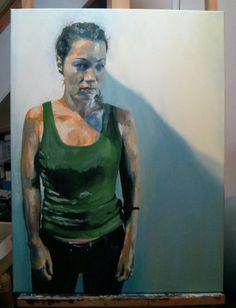'Jo in green vest' by Dr. Mata Haggis, 2013. Oil on Canvas. 60x80cm