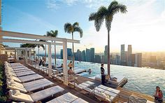 Stunning views from the SkyPark pool at the Marina Bay Sands Resort in Singapore