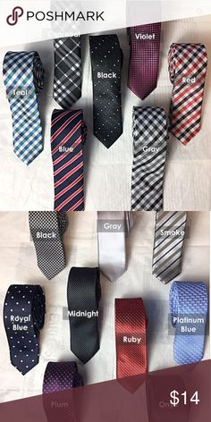 """Men's Fashion Silk Skinny Ties Men's slim-cut tie crafted of lustrous colored designs made for today's modern trendy man. Product details: Material:Polyester Silk Item Sizes:Length:57.1""""(145cm)/Width:Max.Width:2.0""""(5cm) Castelanni Accessories Ties"""