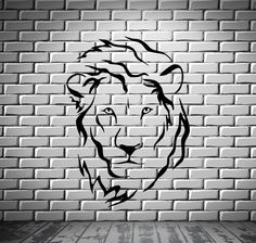 Lion Head Predator King Tribal Simbol Decor Wall MURAL Vinyl Art Stick – Wallstickers4you