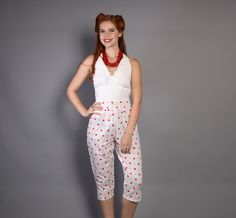 80s does 50s Pin Up PANTS / Red & White Polka DOT by LuckyDryGoods