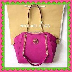 "Authentic Michael Kors Chain Leather Pink Handbag % AUTHENTIC ✨ Beautiful large shoulder chain leather handbag from Michael Kors  Color: Fuchsia (pink) Approximate measurements: Length 14"" Height 10 1/2"" Width 4"" Strap drop 10"" Zipper top closure. Exterior side compartments. 5 interior pockets. Yellow gold tone hardware  NO TRADE  Michael Kors Bags Shoulder Bags"