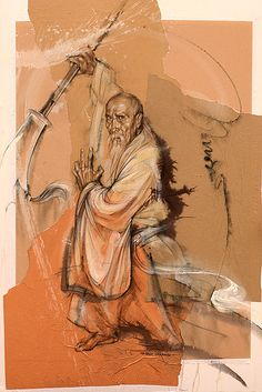 Old monk. Art by Independent Artists. Wing Chun Martial Arts, Chinese Martial Arts, Japanese Monk, Japanese Warrior, Kung Fu, Old Monk, Dungeons And Dragons Art, Martial Arts Techniques, Japanese Artwork