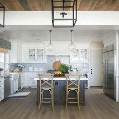 Kitchen with Blue Brick Tile Backsplash, Cottage, Kitchen