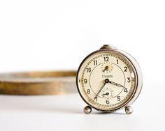 Vintage Desk Clock Rustic Sofia Bulgarian by TheThingsThatWere, $29.00