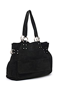 465b7e92a22c Kooba Tote - Silver Hardware-side Clips-striped Lining Black Suede Satchel