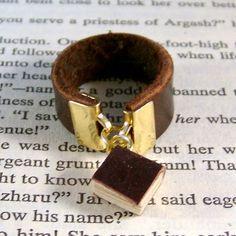 Leather Miniature Book Ring Mini Book Dangle Ring by JanDaJewelry