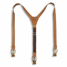 """USA MADE 2/"""" WIDE X STYLE LEATHER Men/'s Suspenders With Button On Leather Ears"""