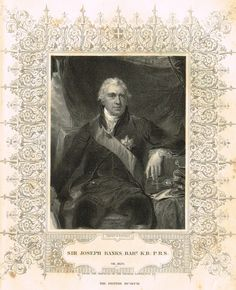 "Elaborate Scrollwork Bordered Portrait - ""SIR JOSEPH BANKS"" - Steel Engraving - c1840"