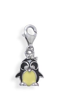 Enamel Penguin Charm with Lobster Clasp