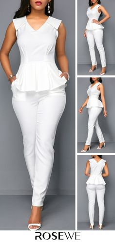 White V Neck Sleeveless Peplum Jumpsuit Summer Fashion Outfits, Cool Outfits, Fashion Dresses, Jumpsuits For Sale, Jumpsuits For Women, Look Fashion, Womens Fashion, White V Necks, Apparel Design