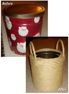 Homemade In The Heartland: DIY: Repurposed Popcorn Tins Twine Crafts, Decor Crafts, Diy And Crafts, Fundraising Crafts, Popcorn Tins, Repurposed Items, Homemade Crafts, Diy Gifts, Craft Projects