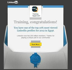 TrainingEgypt one of the top 10% most viewed LinkedIn profiles for 2012 in Egypt.