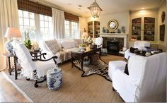 """color scheme, slipcover with """"ballet slipper ties""""  rugs"""