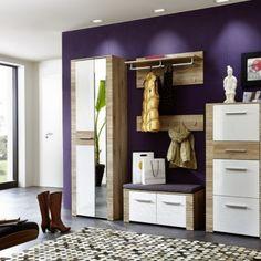 """Moderní předsíňový nábytek v zajímavé kombinaci bílého vysokého lesku a dřevěného dekoru. Možná koupě navržené sestavy nebo samostatných elementů. Kvalitní materiály a zpracování přední plochy: bílý vysoký lesk MDF v kombinaci s dub """"San Remo"""" světlý rýhovaný Korpus: dub """"San Remo"""" světlý imitace San Remo Eiche, Entryway, Design, Furniture, Home Decor, Products, Ebay, Hallway Furniture, Dressing Room Closet"""