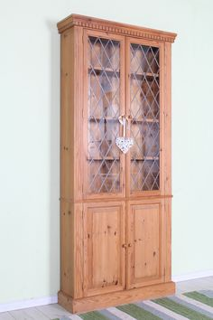 £145 Pine display cabinet with leaded glass doors and removable shelves - heavy solid pine - free local delivery - http://www.sussexpineonline.co.uk/gb/