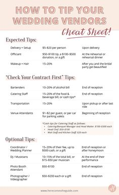 How To Tip Your Wedding Vendors Guide To Tipping How Much and When is part of Wedding tips - Here's the ultimate guide on tipping your wedding vendors—from who, to when, and how much! Also find out which tips are expected and which are optional Wedding Advice, Wedding Planning Tips, Budget Wedding, Wedding Vendors, Wedding Hacks, Wedding Registry Ideas, Wedding Song List, Wedding Stuff, Photo List For Wedding