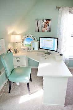 Like the placement of the desk facing the door rather than the wall. Office space.