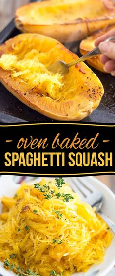 So very easy to make and so deliciously tasty, Oven Baked Spaghetti Squash might very well become your favorite pasta replacement! Oven Baked Spaghetti Squash Kali Logue Food So very easy to make and so deliciously tasty, Oven Baked Spaghetti Oven Baked Spaghetti Squash, Squash In Oven, Squash Pasta, Spagetti Squash Bake, Baked Spagetti Squash Recipes, Baking Spaghetti Squash Whole, Roasting Spaghetti Squash, Making Spaghetti Squash, Spaghetti Recipes