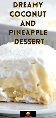 Best Dessert Recipes, Fun Desserts, Delicious Desserts, Lady Fingers Dessert, Pineapple Desserts, Pineapple Coconut, Coconut Candy, Fudge Pie, Coconut Pudding