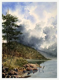 Watercolor landscape beach rocks lake hills pine trees clouds
