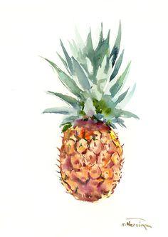 "Pineapple, 15"" X 11"" one of a kind original watercolor painting pineapple art, pineapple painting, kitchen art tropics, tropical fruits,"