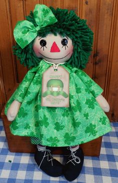 Primitive Handmade Button Eye Raggedy ANN Doll in SHAMROCK Dress St Patricks Day. Doll by Cathy Mullins.