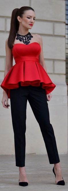 #summer #offtheshoulder #trend #outfitideas |  Red Pleated Peplum Bandeau Top + Black Pants