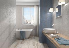 La Maison- Feel 31,6x60: Rvto / Wall / Rvtm: Feel Zafiro 31,6x 60 / Feel Plata 31,6x60 / Soft Perla 31,6x60 Pvto / Floor / Sol: Castle Cenere 20x60 #PamesaCerámica #Pamesa #Maison #tiles #azulejos #decoración #interiorismo #decor #interiordesign #living #area #salón #trends #home Classic Interior, Clawfoot Bathtub, Amazing Bathrooms, Interiores Design, Tiles, Flooring, Retro, Home Decor, Motifs