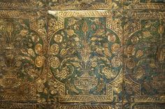 Detail of an entire wall of embossed leather, silver-gilt and amber-varnished to look like gold. circa 1600 (Lynne Rutter)