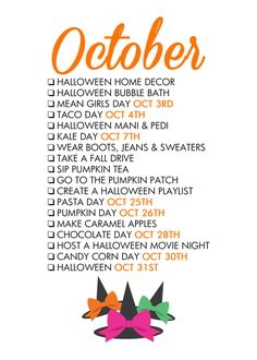October Seasonal Living List