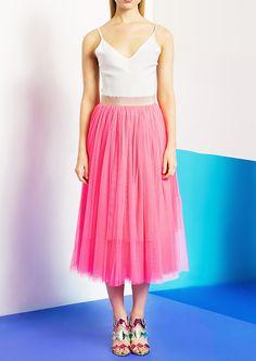 Jupe longue en tulle rose - femme - tara jarmon 1