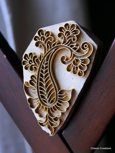 Handmade Indian Wood and Brass Textile Stamp- Paisley with Flowers Motif  Beautiful inspiration