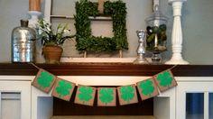 Shamrock Banner, St Patrick's Day Decor, Lucky Sign, St  Patrick's Day Banner-St  Patrick's Day Bunting - Photo Prop
