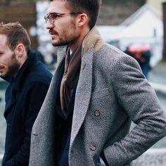 chevron tweed grey and black fabric coat