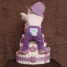 Diaper Cake ImagesMy other pin of this didn't have the owl baby butt! How cute!