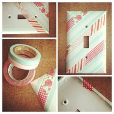 cover a light switch plate with washi tape