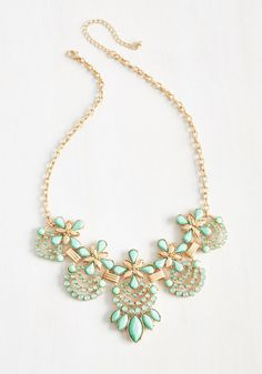 Hit the Town Stunning Necklace in Mint. Shine beneath the city lights in this embellished golden necklace! #mint #modcloth