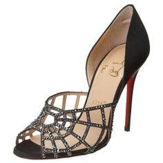 Christian Louboutin Aranea 100 Lurex Embellished Pumps Sandals Black