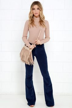 Start your adventures off right by slipping into the Walking in Memphis Navy Blue Corduroy Flare Pants first thing in the morning