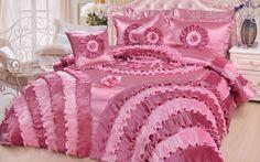 DaDa Bedding Rose Queen Satin Comforter Set Victorian 5 Pieces, Pink, Quilt set #DaDaBeddingCollection